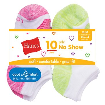 Hanes Girls' Cool Comfort No Show Socks, 10-Pack