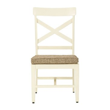 Signature Design By Ashley Preston Bay Armless Chair with Cushion Antique White, Set of 2
