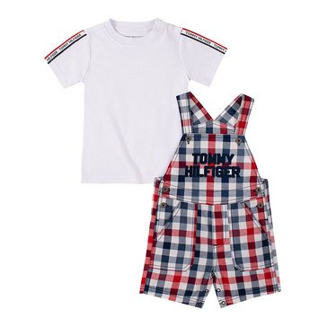 Tommy Hilfiger Baby Boys' Woven Plaid Tee & Oxford Shortall Set