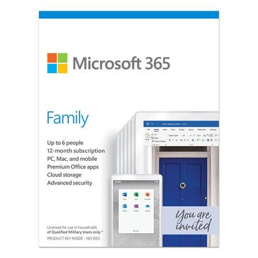 Microsoft Office 365 Family Military Edition Mac Win English 1 Year Subscription