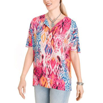 Chicos Womens Ikat Print East West Top