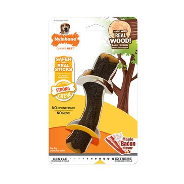 Nylabone Strong Chew Stick Real Wood with Maple Bacon Dog Toy
