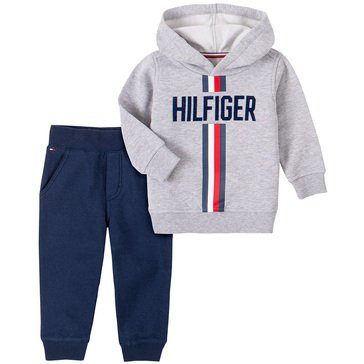 Tommy Hilfiger Baby Boys' Striped Hooded Fleece With Fleece Jogger Set