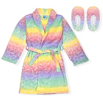 Liberty & Valor Little Girls' Rainbow Cozy Robe with Slippers