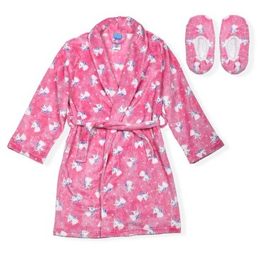 Liberty & Valor Big Girls' Unicorn Cozy Robe with Slippers