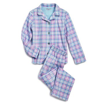Liberty & Valor Little Girls' Hearts Minky Coat Sleep Set