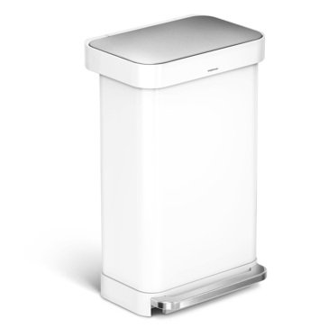 SIMPLEHUMAN 45L Rectangular White Steel Step Can, M Liner
