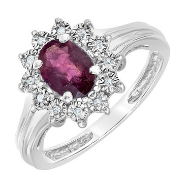 10K White Gold 1 1/5 tgw Ruby and Diamond Ring