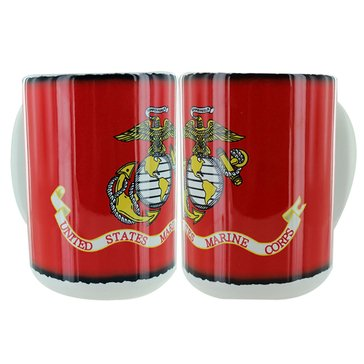 Vanguard USMC Logo On Scroll White and Red 15oz Ceramic Mug