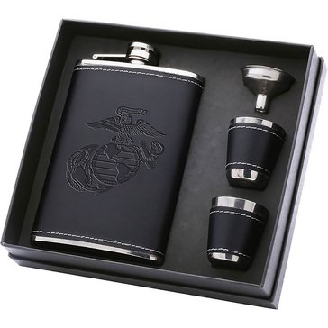 Vanguard EGA Black Debossed Lthr Flask Set with 2 Shot Glasses
