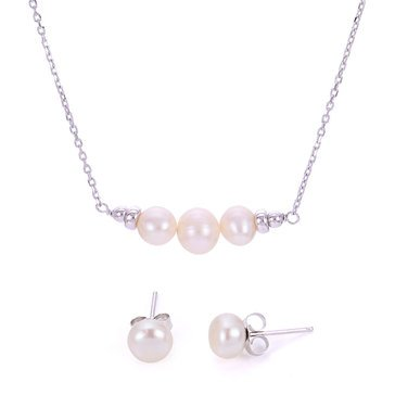 Sterling Silver Freshwater Cultured Pearl Pendant and Earring Set