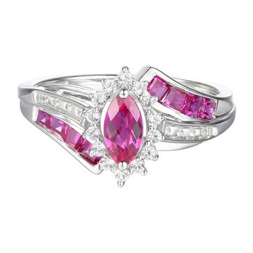 Sterling Silver 1 Cttgw Created Ruby and Created White Sapphire Ring