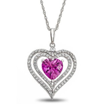 Sterling Silver Created Pink and White Sapphire Heart Pendant