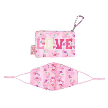 Striped Floral Love Printed Face Mask/Pouch Set