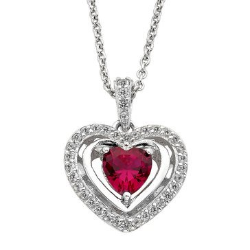 Sterling Silver Created Ruby and White Sapphire Heart Pendant
