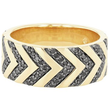 Rachel Reid 14K Black Diamond Chevron Ring