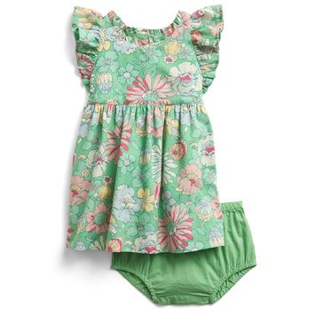 Gap Baby Girls' Green Printed Floral Dress