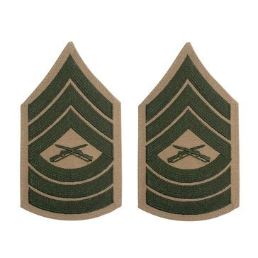 USMC Women's Chevron Green on Khaki MSTSGT