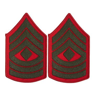 USMC Women's Chevron Green on Red 1stSGT