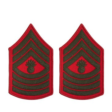 USMC Women's Chevron Green On Red Merrowed MSTGYSGT
