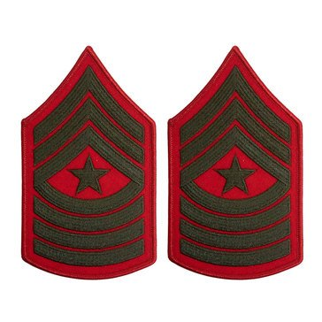 USMC Women's Chevron Green On Red Merrowed SGTMAJ