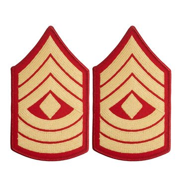 USMC Women's Chevron Gold on Red 1ST SGT