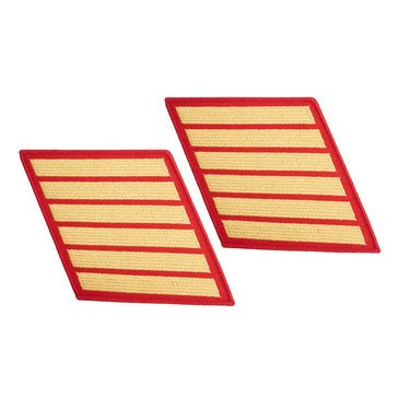 USMC Women's Service Stripe Set-6 Gold on Red Merrowed