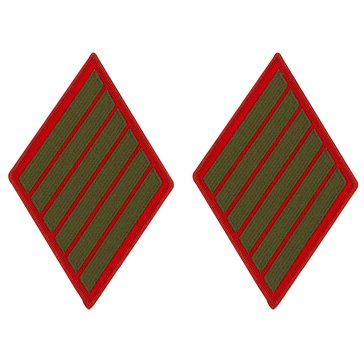 USMC Women's Service Stripe Set-6 Green on Red