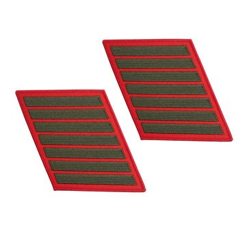 USMC Women's Service Stripe Set-7 Green on Red
