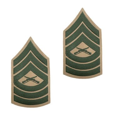 USMC Male Chevron Green on Khaki MSGT
