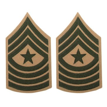 USMC Male Chevron Green on Khaki SGTMAJ