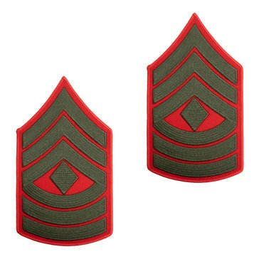 USMC Men's Chevron Green On Red Merrowed 1STSGT