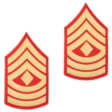 USMC Men's Chevron Gold on Red 1ST SGT Merrowed