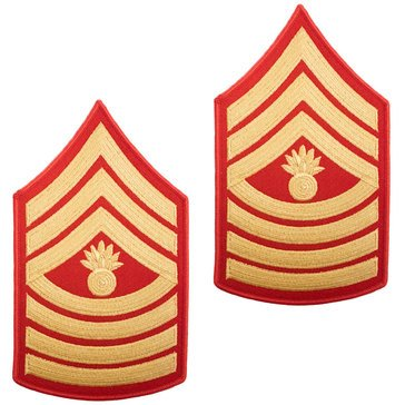 USMC Men's Chevron Gold on Red MGYSGT Merrowed
