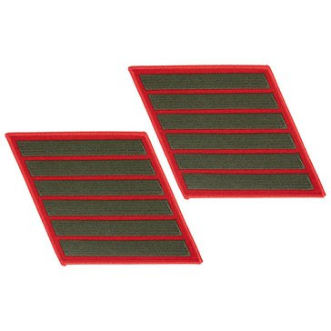 USMC Men's Service Stripe Set 6 Green on Red Merrowed