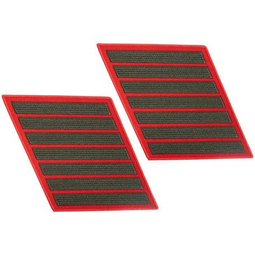 USMC Men's Service Stripe Set 7Green on Red Merrowed