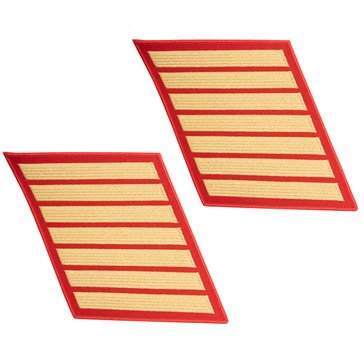 USMC Men's Service Stripe Set 7 Gold on Red Merrowed