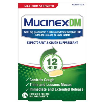 Mucinex Dm Expectorant & Cough Suppressant 1200mg Maximum Strength Extended Release Box 14ct Tablets