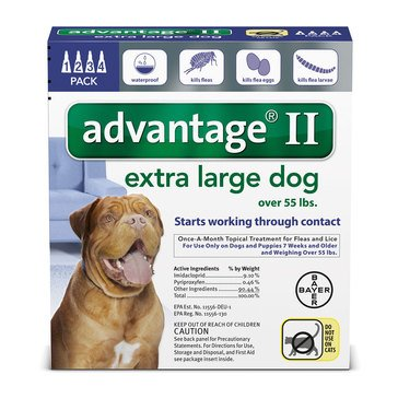 Advantage Flea and Tick Treatment for Dogs Over 55 lbs., 4 Treatments