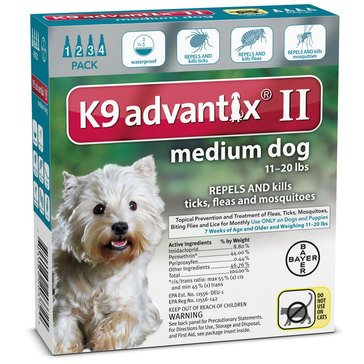 K9 Advantix Flea & Tick Treatment For Dogs 11-20 lbs., 4 Treatments