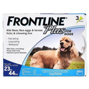 Frontline Plus For Dogs Flea and Tick 23-44 lbs., 3 Pack