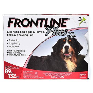 Frontline Plus For Dogs Flea and Tick 89-132 lbs., Pack