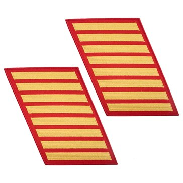 USMC Men's Service Stripe Set 8 Gold on Red Merrowed