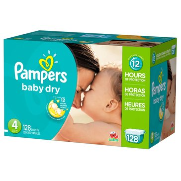 Pampers Baby Dry Giant-Pack 128-Count Diapers, Size 4