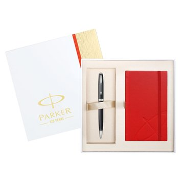 Parker Sonnet Matte Black CT Ballpoint Pen and Notebook Gift Set