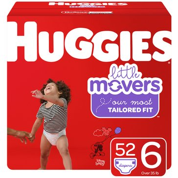 Huggies Little Movers Giant Pack 52-Count Diapers,Size 6