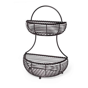 Gourmet Basics By Mikasa 2-Tier Flat Back Metal Basket