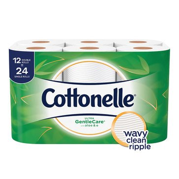Cottonelle Bath Tissue Gentle Care With Aloe 12 Double Rolls