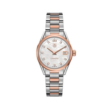 Tag Heuer Women's Carrera White Mother of Pearl/18K Rose Gold and Fine Brushed Steel .1 Cttw Diamond Watch, 32mm