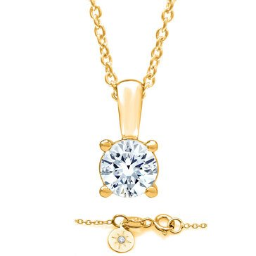 Navy Star 14K Yellow Gold 1/2 CT Solitaire Pendant